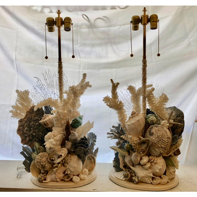 Christa's South Seashells Organic Seashell Table Lamps - a Pair For Sale - Image 4 of 4