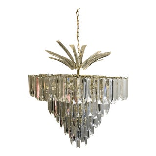 1970s Mid Century Modern Lucite Waterfall Chandelier For Sale
