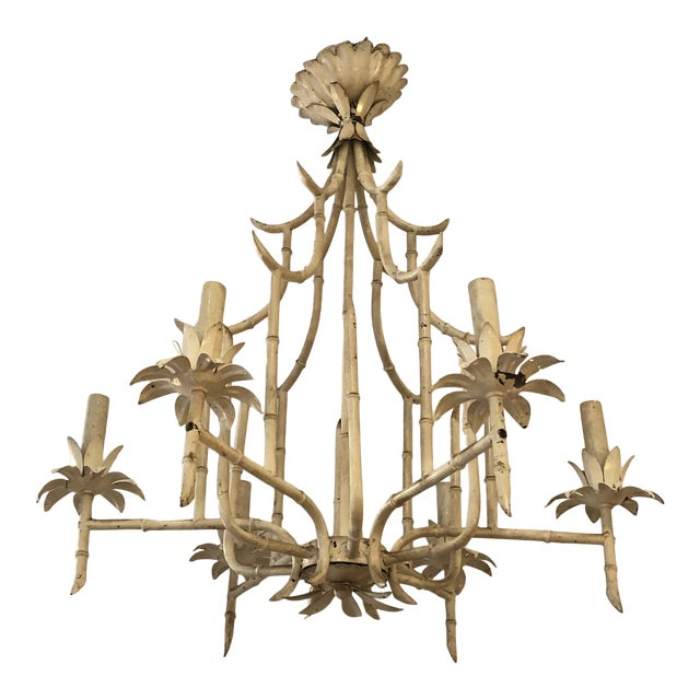 Italian Faux Bamboo Painted Iron and Tole Pagoda Style Chandelier For Sale