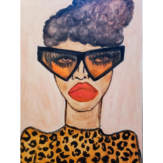 Figurative Leopard Top Drawing by Kendra Dandy For Sale - Image 3 of 4