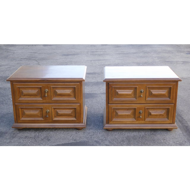 Mid Century Modern Drexel Two Drawer Solid Wood Nightstands - a Pair - Image 4 of 11