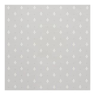Sample - Schumacher Fleur De Lis Wallpaper in Grey For Sale