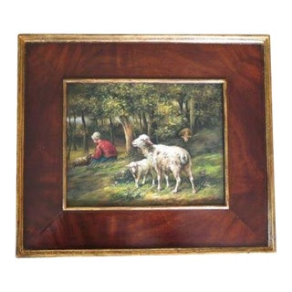 """""""Sheep"""" Oil Painting on Board in Burl Walnut Frame For Sale"""