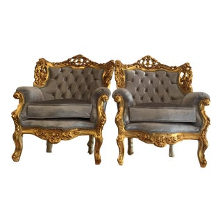 Gray Velvet & Gold Throne Chairs - A Pair For Sale