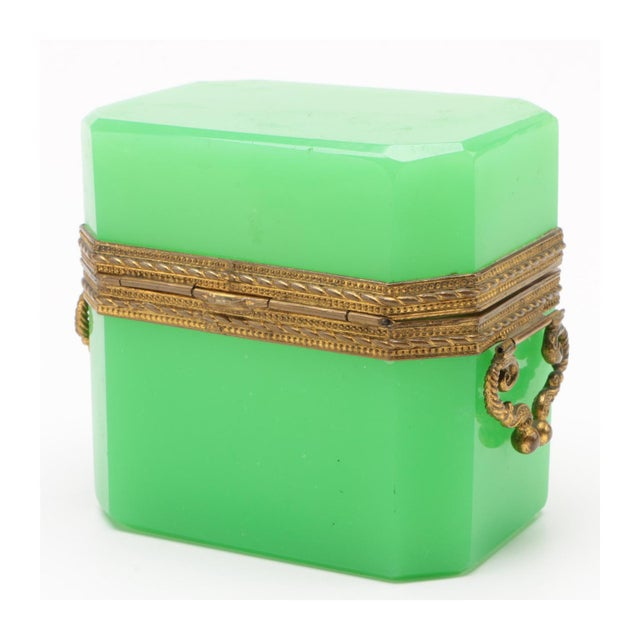 19th Century French Green Opaline Glass Casket For Sale - Image 4 of 8