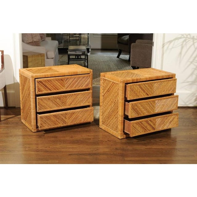 Incredible Pair of Restored Vintage Cane and Reed Bamboo Small Chests For Sale In Atlanta - Image 6 of 11