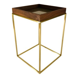 Sabin Anacapa Walnut and Brass Tray Side Table For Sale