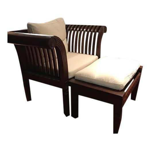 Hand-Carved Mahogany Wood Chair & Ottoman - A Pair - Image 1 of 10