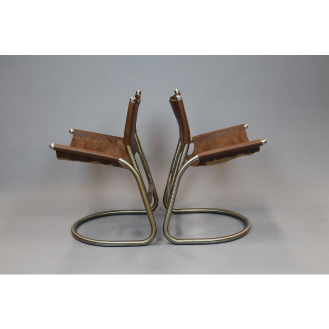 Mid-Century Italian Leather & Aluminum Chairs - A Pair - Image 4 of 6