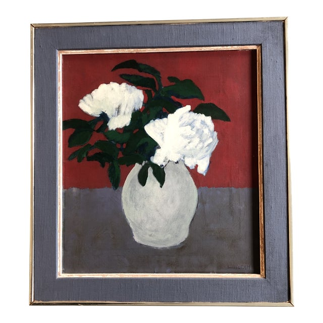 Original Mid Century Peonies Painting by Listed Robert LaHotan Madison Ave Label 1950's For Sale