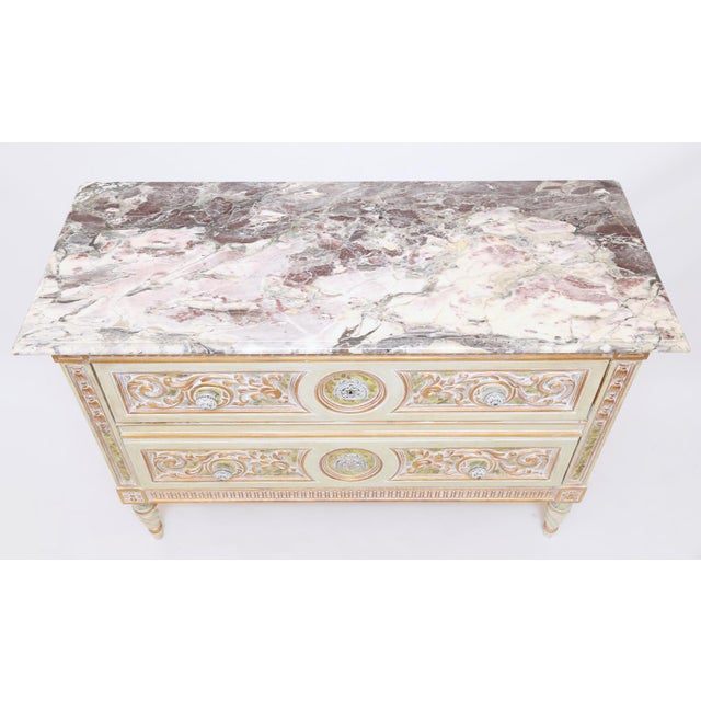 Marble Painted Venetian Style Commode With Marble Top For Sale - Image 7 of 12