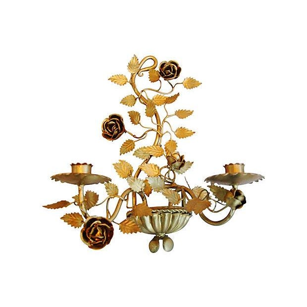 Mid-Century Italian Floral Candle Sconces - A Pair - Image 5 of 7