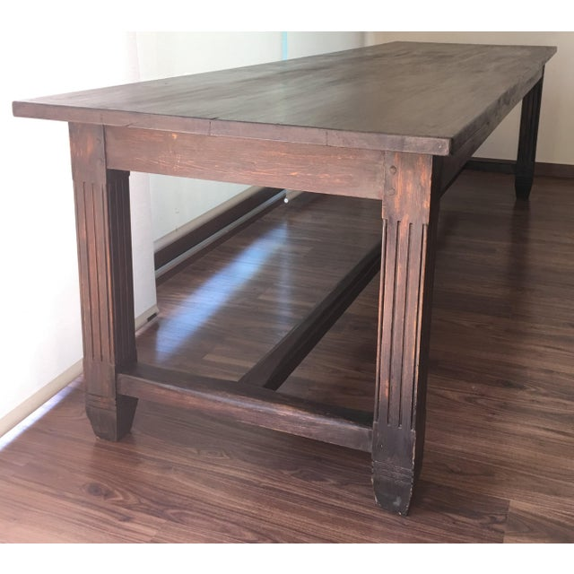 20th century large spanish farm table dining room chairish for Table th width