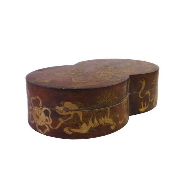 Asian Chinese Brown Lacquer Double Round Painted Box For Sale - Image 3 of 7