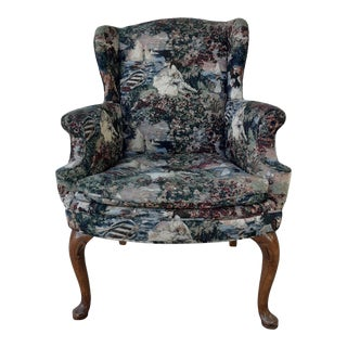 Mid-Century Modern Queen Anne Style Wingback Arm Chair With Victorian Tapestry Upholstery For Sale