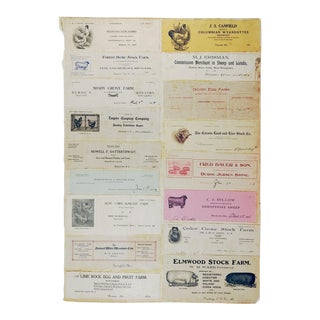 Mounted Collection of Antique Farm & Livestock Letterhead Graphics
