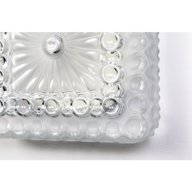 Transparent 1970s Clear & Frosted Glass Diamond / Square Flush Mount With Circle Motif For Sale - Image 8 of 11