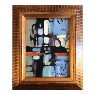 "Contemporary Stephen Heigh Small Abstract Painting ""City"" Framed For Sale"