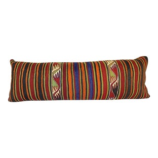 Hippie Kilim Lumbar Pillow Cover, Long Kilim Pillow, King Stripe Anatolian Cushion Cover for Farmhouse and Office 16'' X 48'' (40 X 120 Cm) For Sale