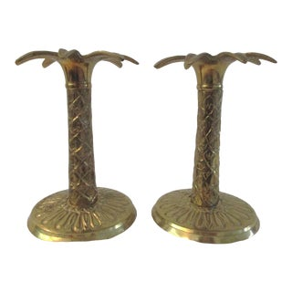 1980s Polished Brass Palm Tree Candle Holders - a Pair For Sale