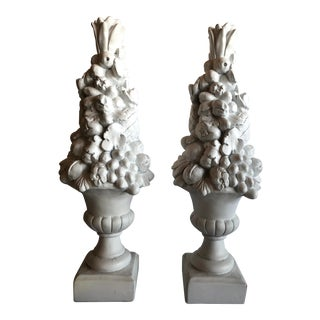 20th Century English Traditional Plaster Fruit Topiary - a Pair For Sale