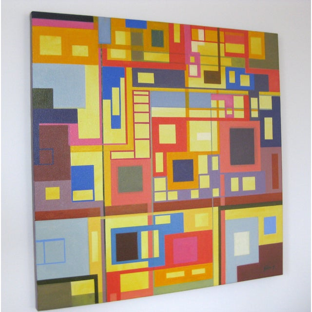 """""""Homage to the Squares"""" Original Oil Painting - Image 3 of 4"""