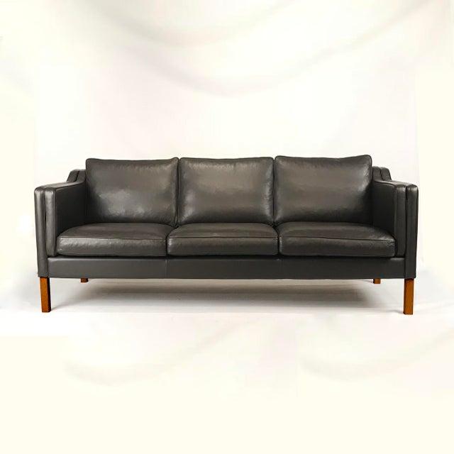 Vintage Danish Black Leather 3-Seat Sofa - Image 5 of 5