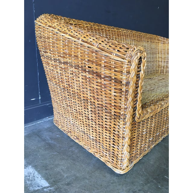 Vintage Mid-Century Modern Wicker Sofa For Sale - Image 9 of 12