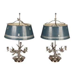 Pair of Silvered Bouillotte Lamps For Sale