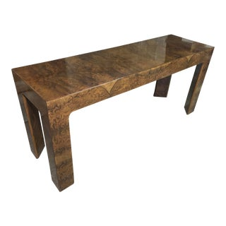 1970s Burlwood Console Table For Sale
