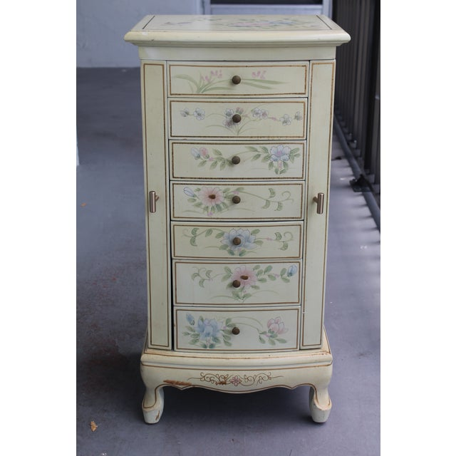 A vintage beautiful Jewelry chest/ drawers open for storage. Top drawer is faux and opens large and mirrored - for a...
