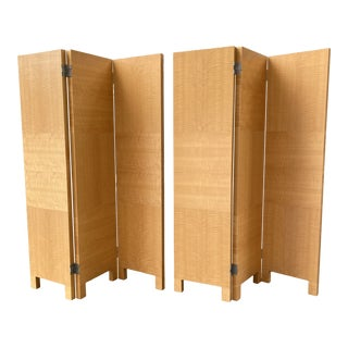1990s Anigre Quarter Sawn 3 Panel Screens - a Pair For Sale