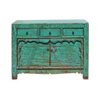 Chinese Distressed Bright Aqua Green 3 Drawers Sideboard Table Cabinet For Sale