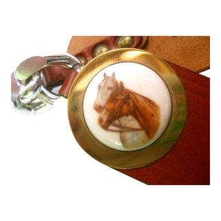 Unique Porcelain Horse Theme Brown Leather Belt C 1970s For Sale