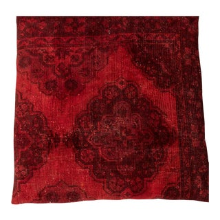 Vintage Designer Wool Red Floor Pillow For Sale