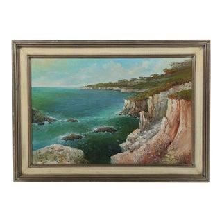 "Midcentury ""Seascape"" Oil Painting on Canvas"