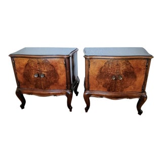 Venetian Mid-Century Burlwood Black Glass Bedside Tables - a Pair For Sale