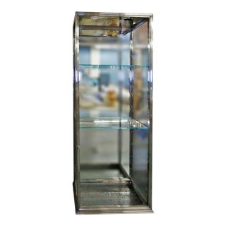 Late 20th Century Modern Chrome & Glass Showcase For Sale