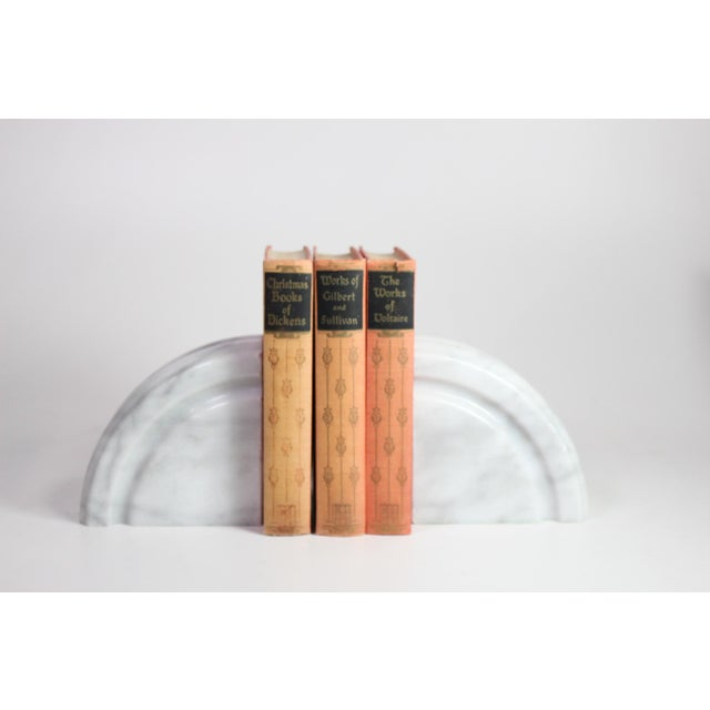 1980's Post Art Deco White Marble Bookends - a Pair For Sale - Image 4 of 5