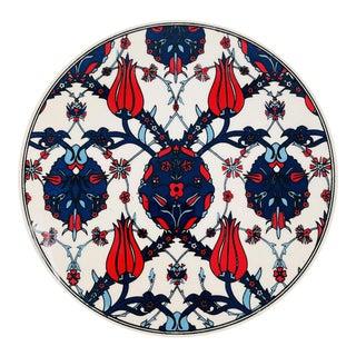 Turkish Handmade Large Ceramic Floral Coaster 6'' For Sale
