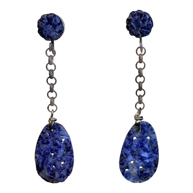 1930s Carved Lapis and Gold-Plated Sterling Earrings For Sale