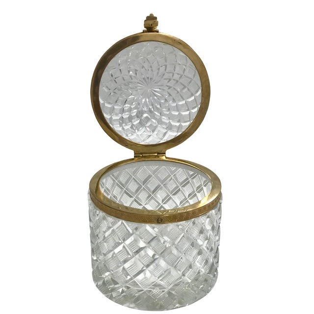A large French Baccarat crystal box with a domed top which is very rare and bronze dore mounts. A classical piece of...