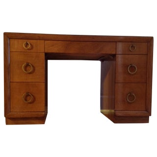 Widdicomb Kneehole t.h. Robsjohn-Gibbings Desk and Protective Glass Top For Sale