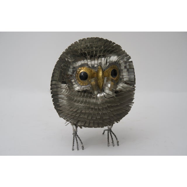 1960s Brutalist Owl Metal Figurine For Sale In West Palm - Image 6 of 6