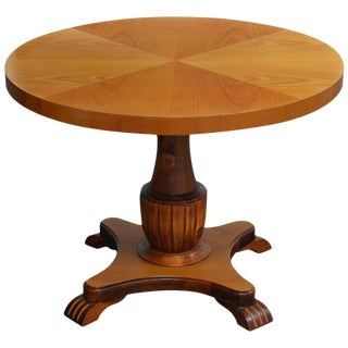 Swedish Art Deco Round Golden Elm End or Side Table For Sale