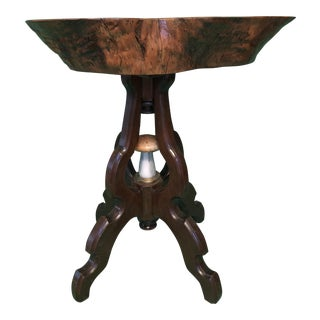 Wooden Cross-Cut Mushroom Light Side Table For Sale