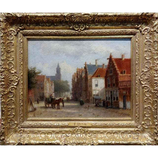 Johannes Frederick II Hulk -19th c. Early Market day in Amsterdam-Oil panting Dutch impressionist - oil painting on wood...