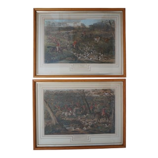 """Antique Charles Hunt Prints """"Breaking Cover"""" Fox Hunting England 1838 Hand Colored, Later Edition - a Pair For Sale"""