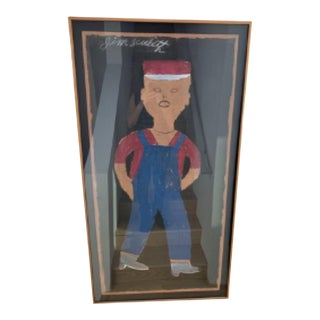 """1990s """"Abstract Boy"""" Outsider Art Mixed-Media Painting by Jimmy Lee Sudduth, Framed For Sale"""