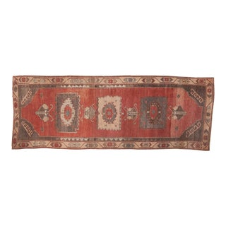 "Vintage Distressed Oushak Rug Runner - 3'11"" x 10'9"""